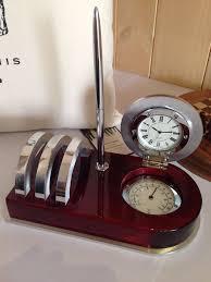 Mahogany Desk Accessories Executive Piano Mahogany Desk Clock Thermometer Letter Rack