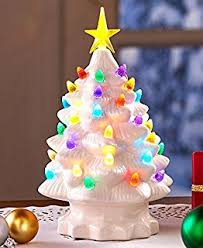 retro lighted tabletop trees white small