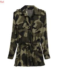 camo blouse summer camouflage print blouse fashion shirts