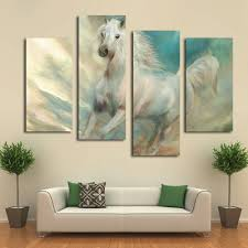 popular art deco horse buy cheap art deco horse lots from china 2016 top fashion 5 4 home decorative hang wall art picture printed white galloping horses oil
