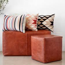 moroccan brown leather bench rectangular pouf u2013 the citizenry