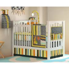 Boy Nursery Bedding Set by Brown Wooden Crib For Baby Boys With Animals Pattern Bedding Set