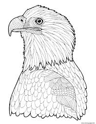 bald eagle zentangle page hard advanced coloring pages printable