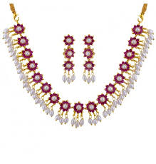 necklace red stone images Buy the best red stone necklace set at sri jagdamba pearls jpg