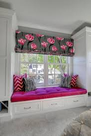 Black And Fuchsia Curtains Pink Kids Window Seat Bench And Curtains Transitional U0027s Room