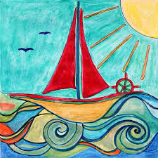 two paintings of baby boy ship in the sea with sun ideal for