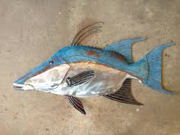 hogfish metal wall fish sculpture 25in long tropical beach coastal art