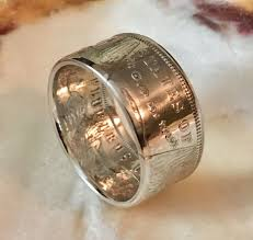 52nd wedding band handcrafted silver dollar coin ring size 8 14 gift wedding