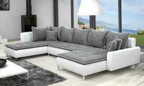 canapé panoramique canapé panoramique en tissu gris et simili blanc elegato