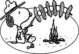 art snoopy camping coloring page wecoloringpage