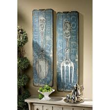 amazon com vintage fork and spoon wall art set of 2 home