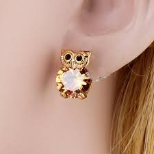 gold earrings tops 2017 2017 new design owl earrings zircon gold plated stud
