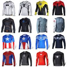 Marvel Super Heroes Clothing Men Superhero Avengers T Shirt Long Sleeve Sports Fitness Jersey
