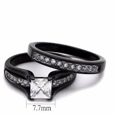 promise ring sets ring set womens one carat princess cz black promise ring