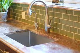 Wonderful Kitchen Backsplash Green Glass Tile Design With Cabinets - Green glass backsplash tile
