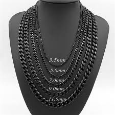 colored chain link necklace images 3 5 5 7 9 11mm mens boys curb chain new fashion silver gold black jpg