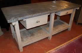 french zinc topped bakers table antique counters island units