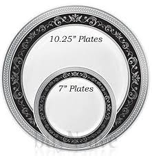 silver wedding plates buynsave black with silver heavyweight plastic disposable