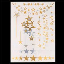 gold stars suns temporary henna tattoos transfer silver arm fake