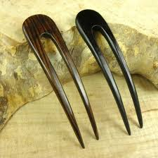 hair fork two striped 4 1 2 inch wooden two prong curved hair fork