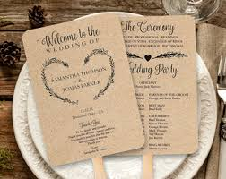vintage wedding programs rustic wedding fan etsy