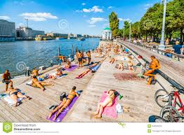 russian beaches public beach in moscow gorky park editorial stock photo image