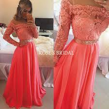 long sleeve coral lace prom dress elegant prom dresses cheap