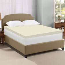 bedroom cooling gel mattress topper with brown carpet and glass