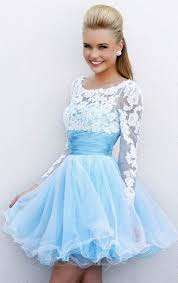 dress blue homecoming dress long lace sleeves homecoming dress