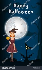 background halloween image halloween background witch on full moon stock vector 473459746