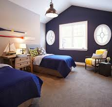 Navy Accent Wall Bedroom Pretty Wingback Bed In Bedroom Farmhouse With Navy Bedding Next To