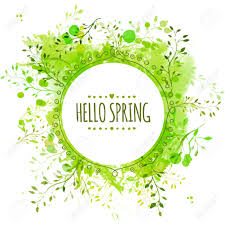 Green Paint by Circle Frame With Text Hello Spring Green Paint Splash Background