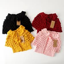 2016 knit puff cardigan baby batwing poncho