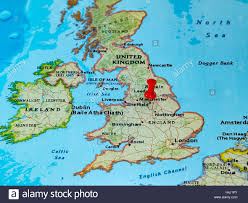 Uk World Map by Sheffield U K Pinned On A Map Of Europe Stock Photo Royalty