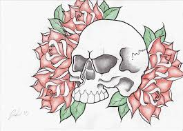 the images collection of drawings of roses and skulls