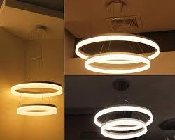 2 pendant light fixture 2 rings modern circle led pendant suspended ceiling lighting