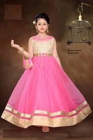 pink u0026 gold indian ethnic designer long gown party wear kids dress