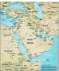 middle east map with country name geography for middle east