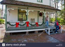 Christmas Decorations In The Home by Porch With Christmas Decorations In Historic Heritage Village In