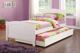 Child Bed Frame Poundex F9218 White Bed With Trundle