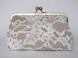 Silk And French Chantilly Lace Ivory Champagne Clutch Bridal