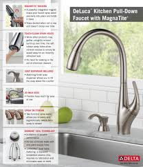 delta deluca single handle pull down sprayer kitchen faucet with home depot delta faucet pull down with soap dispenser kitchen infographic