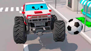 3d monster truck racing monster truck racing car in the city cartoon for children 3d