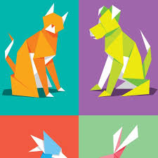 Origami Pets - paper pets print by glenn jones pigment prints nz prints