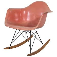 Rocking Chair Runner Early Edition Eames Rocker In Coral Salmon At 1stdibs