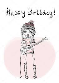 happy birthday card with guitarist u2014 stock vector