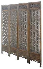 Room Divider Panel by Set 4 Pieces Chinese Double Sides Geometric Pattern Carving Room