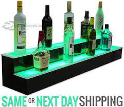 led lighted bar shelves 48 2 step tier led lighted shelves illuminated liquor bottle bar