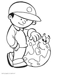 kid boy and earth coloring page
