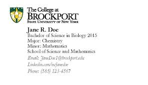 student business card the college at brockport